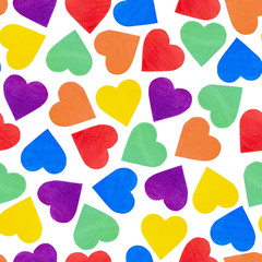 Seamless pattern with hearts on isolated white background - Lgbt flag color. design bright wallpaper, textiles. concept Valentine's Day