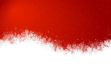 Wall Mural - red snowy christmas background