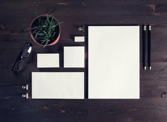 Blank branding template on wooden background. Photo of blank stationery. Mock-up for design portfolios. Flat lay.