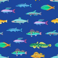 Varicoloured Marine Creatures Seamless Pattern