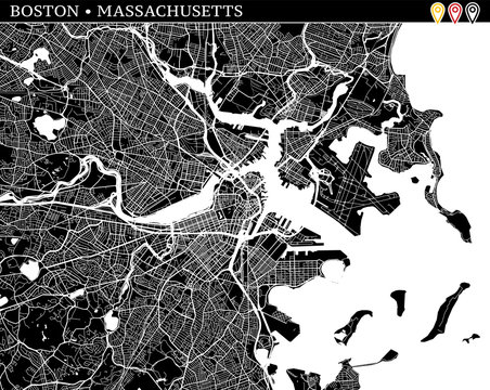 Simple map of Boston, Massachusetts