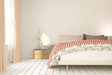 Mock up of white modern bedroom. Scandinavian interior design. 3D illustration