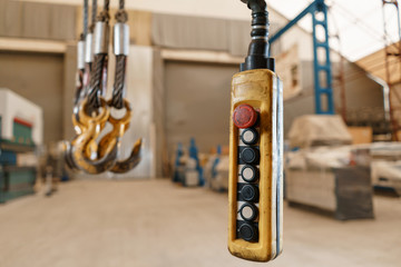 close up remote control switch for overhead crane in manufacture workshop