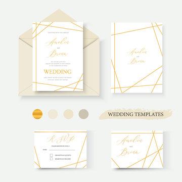 Wedding geometrical gold invitation card envelope save the date rsvp label