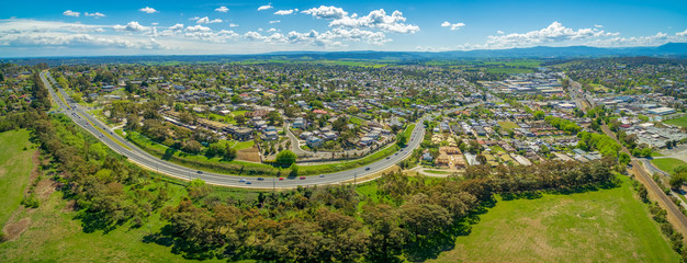 Maroondah Highway and Lilydale suburb. Melbourne, Victoria, Australia - wide aerial panorama