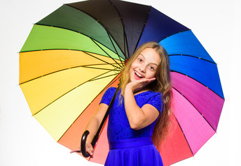 Ways to brighten your fall mood. Ways to improve your mood in fall. Colorful accessory for cheerful mood. Stay positive fall season. Girl child ready meet fall weather with colorful umbrella