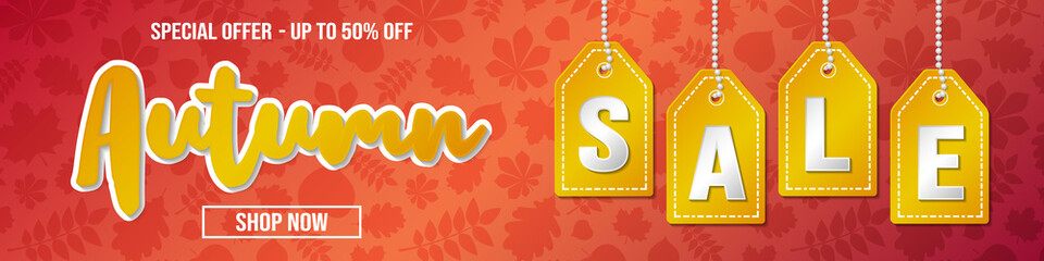 Concept of banner with leaves for Autumn Sale. Vector.