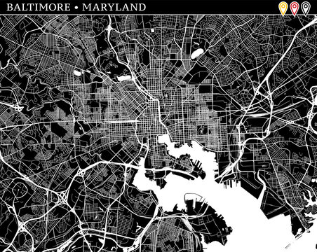 Simple map of Baltimore, Maryland
