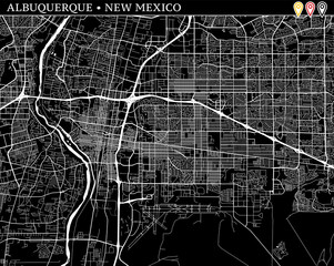Simple map of Albuquerque, New Mexico