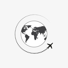 Airplane icon travel. Trip round the world.