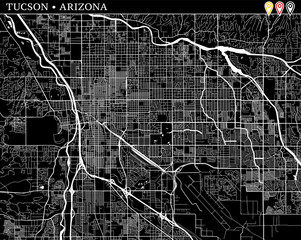 Simple map of Tucson, Arizona