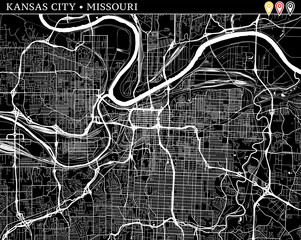 Simple map of Kansas City, Missouri