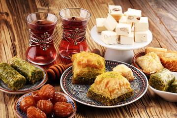Middle eastern or arabic dishes. Turkish Dessert Baklava with pistachio
