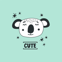 Cute koala head vector illustration. Design element, modern style clipart