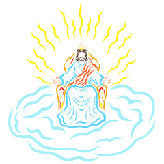 Jesus sitting on a throne in a crown, on a cloud, radiance of holiness