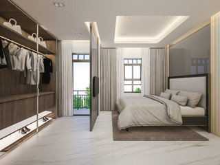 3d rendering of Standard room , bedroom and walk-in closet with garden view