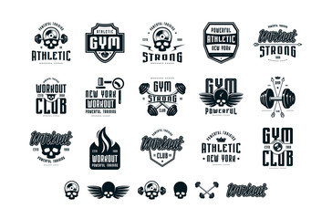 Set of emblems and logo for gym, workout, athletic club