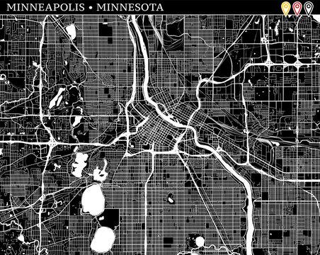 Simple map of Minneapolis, Minnesota