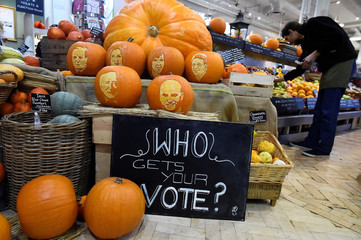 Halloween pumpkins are seen in a shop with Ireland's Presidential candidates faces carved into them ahead of an upcoming Presidential election in Dublin