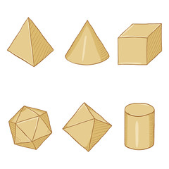 Vector Set of Cartoon Paper Geometry Shapes