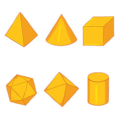 Vector Set of Cartoon Golden Geometry Shapes