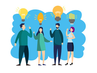 People team with idea lamp. Business people metaphor in minimalistic flat style. Cartoon vector illustration