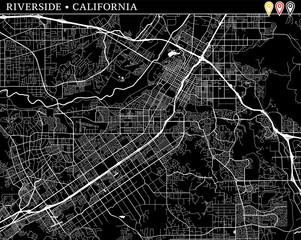 Simple map of Riverside, California