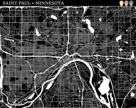 Simple map of Saint Paul, Minnesota