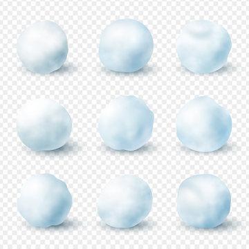 Snowballs realistic winter frost set, christmas decoration