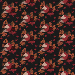 Seamless pattern with bullfinch on a branch of Rowan. Seasonal natural pattern with Rowan berries. Digital illustration