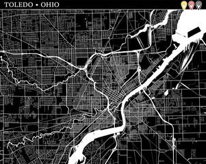 Simple map of Toledo, Ohio
