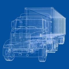 Truck with semitrailer. Vector
