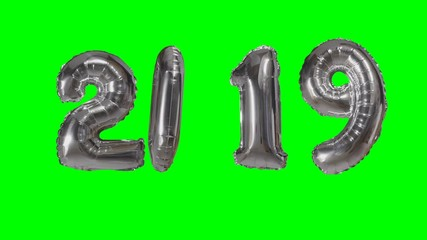 032 number 2019 happy new year birthday anniversary celebration silver balloon floating on green screen background