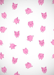 Vertical greeting card with cute cartoon pink pigs, apples and acorns on white. Vector