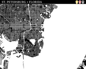 Simple map of St. Petersburg, Florida
