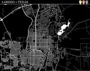 Simple map of Laredo, Texas