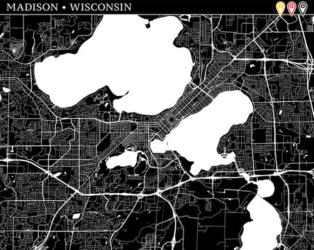 Simple map of Madison, Wisconsin