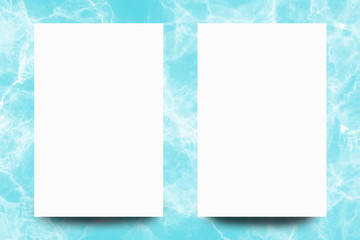 Empty white paper sheet on Turquoise marble background,Mock up for design.