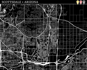 Simple map of Scottsdale, Arizona