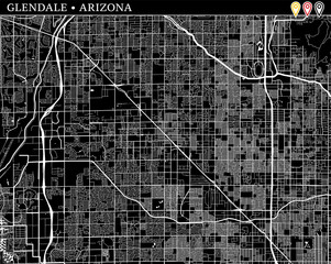 Simple map of Glendale, Arizona