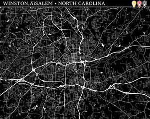 Simple map of Winston–Salem, North Carolina
