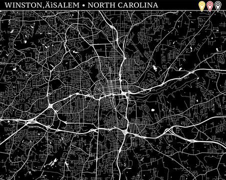 Simple map of Winston–Salem, North Carolina