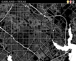 Simple map of Garland, Texas