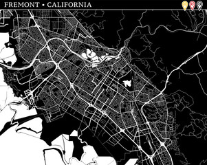 Simple map of Fremont, California