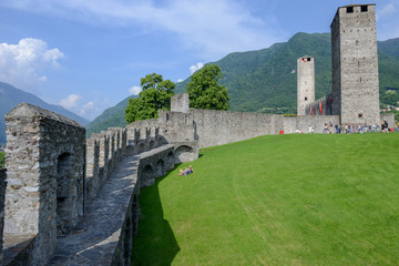 Castelgrande castle at Bellinzona on the Swiss alps