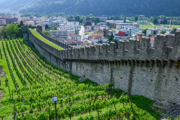Castelgrande castle at Bellinzona on the Swiss alps