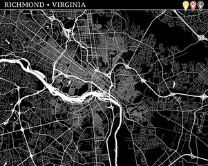 Simple map of Richmond, Virginia