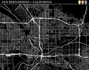 Simple map of San Bernardino, California