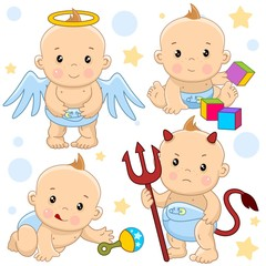 A set of icons with a little boy, a kind angel with wings, an evil devil with horns and a tail and with a pitchfork, crawls and reaches for a toy rattle, sits and plays in cubes.