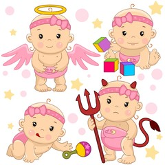 A set of icons with a little girl, a kind angel with wings, an evil devil with horns and a tail and with a pitchfork, crawls and reaches for a toy rattle, sits and plays in cubes.